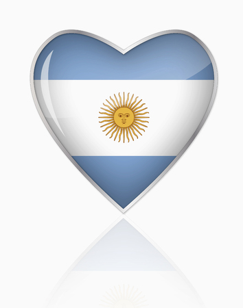 Argentinian Flag In Heart Shape On White Background LANG_EVOIMAGES