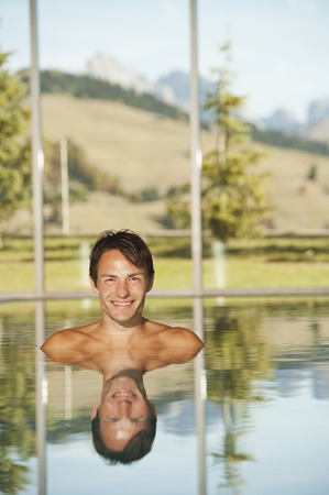 nackte brust: Italy,South Tyrol,Man In Swimming Pool Of Hotel Urthaler