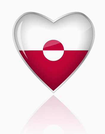 Greenland Flag In Heart Shape On White Background