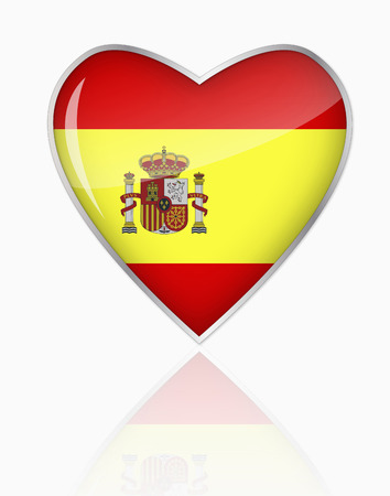 Spanish Flag In Heart Shape On White Background