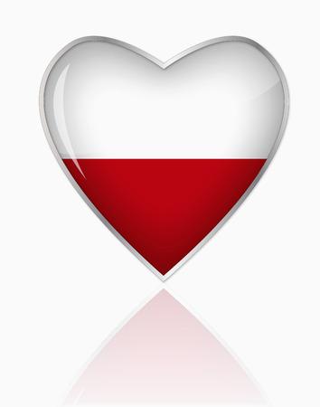Polish Flag In Heart Shape On White Background