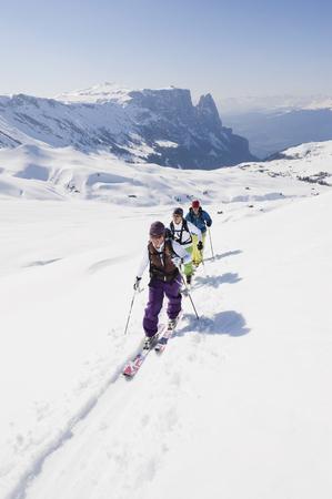 Italy,Trentino-Alto Adige,Alto Adige,Bolzano,Seiser Alm,Group Of People On Ski Tour