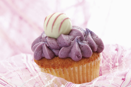 Close Up Of Buttercream Black Currant Cupcake With Chocolate Truffle LANG_EVOIMAGES