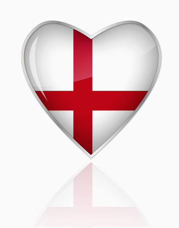 English Flag In Heart Shape On White Background LANG_EVOIMAGES