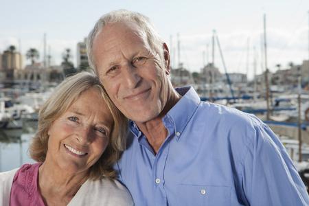palma: Spain,Mallorca,Palma,Senior Couple At Harbour,Smiling,Portrait