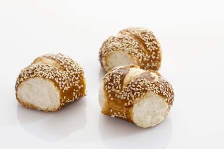 Pretzel Wrath With Sesame Seed On White Background,Close Up LANG_EVOIMAGES