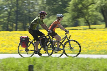 road bike: Germany,Bavaria,Man And Woman Riding Bicycle