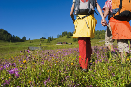 Austria,Salzburg,Couple Walking Through Alpine Meadow