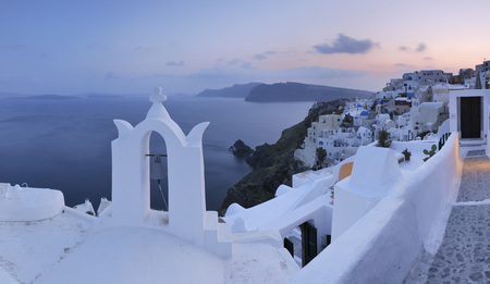 Greece,View Of Oia Village With Bell Tower At Santorini