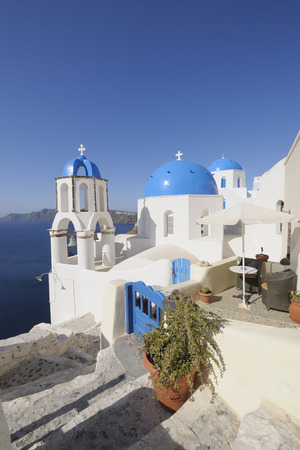 Greece,View Of Whitewashed Church And Bell Tower At Oia LANG_EVOIMAGES