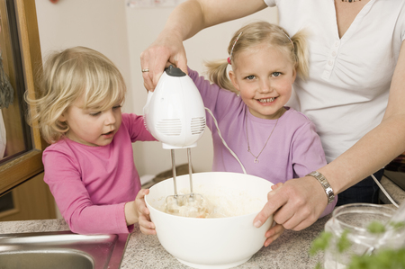 help section: Mother And Daughter Mixing Batter With Electric Whisk LANG_EVOIMAGES