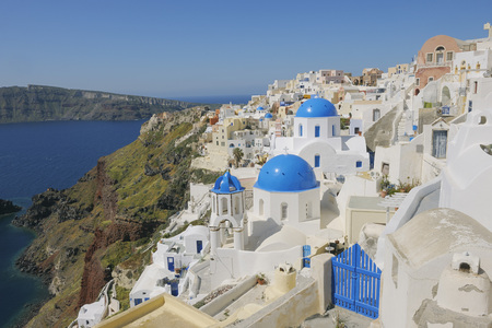 Greece,Santorini,View Of Classical Whitewashed Church And Bell Tower At Oia