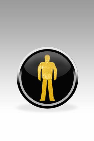 dont walk: Black Button Showing Dont Walk Signal,Close Up