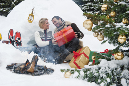 snowshoes: Austria,Salzburg County,Couple Celebrating Christmas In Nature,Smiling