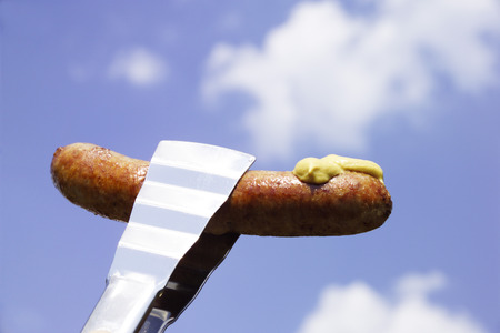 alicate: German Bratwurst With Mustard, Close-Up