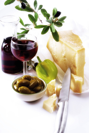 Italian Cheese, Red Wine And Olives