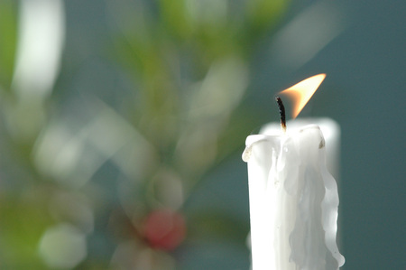 White Candle Burning, Close Up