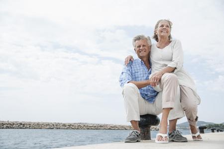 Spain,Senior Couple At Harbour,Smiling LANG_EVOIMAGES