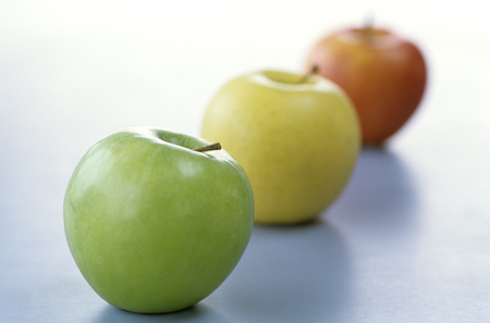 Apples In A Line, Close Up
