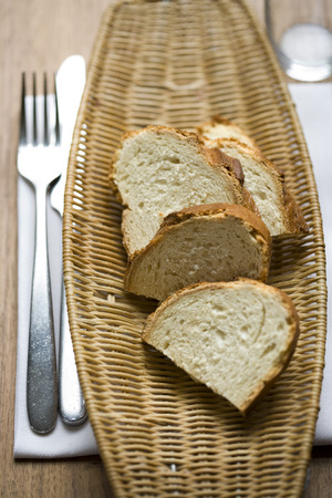 breadbasket: Slices Of Bread On Tray At Table, Elevated View LANG_EVOIMAGES