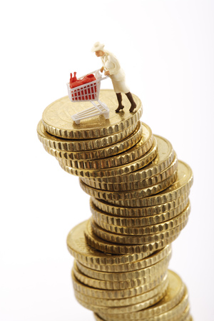 Figurine With Shopping Cart On Pile Of Coins