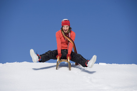 Woman On Sleigh, Outdoors