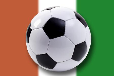 Soccer Ball Against Cote DIvoire Flag LANG_EVOIMAGES