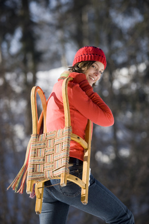 Woman With Sleigh, Portrait