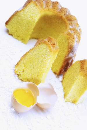 Egg Yolk And Cake, Elevated View