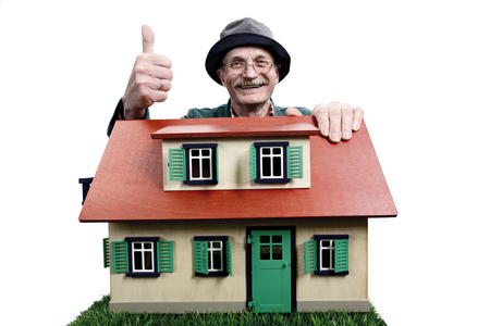Old Man With House, Proud Home Owner LANG_EVOIMAGES