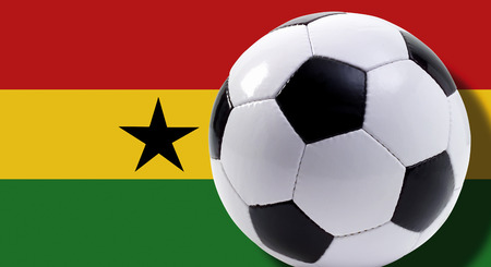 Soccer Ball In Front Of Ghana Flag, Close-Up