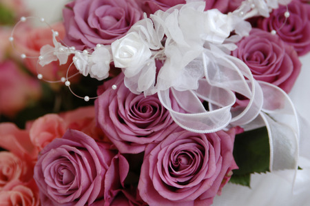 Bridal Bouquet Tied Up With Ribbon, Close-Up