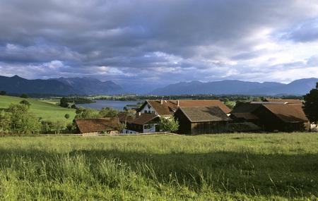 Germany, Bavaria, Murnau, Farm At Lake Riegsee