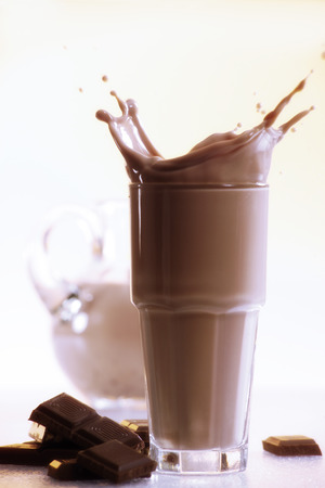 Chocolate Milkshake And Piece Of Chocolate, Close-Up LANG_EVOIMAGES