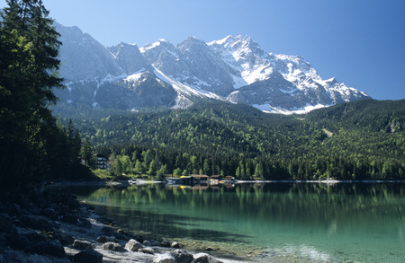 Eibsee With Zugspitze In The Background, Bavaria, Germany