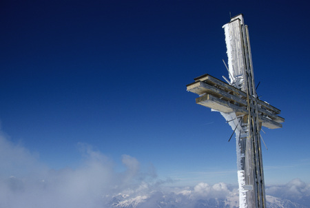Austria, Tirol, Gilfert, Cross, Low Angle View