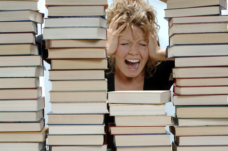 Woman With Pile Of Books, Shouting LANG_EVOIMAGES