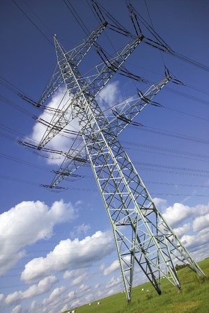 Electricity Pylon In Meadow,Low Angle View
