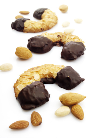 Cookies With Almonds And Chocolate Icing