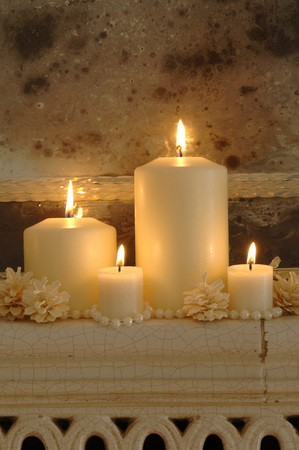 deposition: Burning Candles With Fir Cones On Shelf, Close-Up