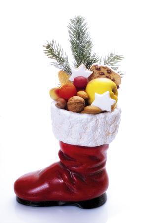 Santa Claus Boot Full Of Fruits, Close-Up