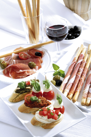 pancetta cubetti: Grissini With Parma Ham And Olives And Mozzarella With Tomatoes,Italian Starters