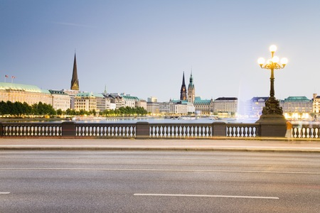 Germany,Hamburg,View From Lombardobr�Cke To Alster (Multiple Exposure) LANG_EVOIMAGES