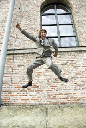 jubilating: Businessman Jumping, Shouting