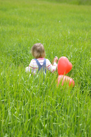Girl ( 3-4 ) Holding Bunch Of Balloons, Walking In Meadow, Rear View LANG_EVOIMAGES