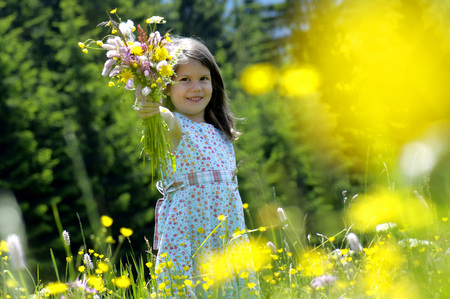 Girl (6-7) Holding Bunch Of Flowers In Meadow,Smiling LANG_EVOIMAGES
