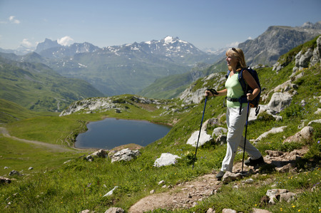 cheer full: Woman Hiking In Austrian Alps
