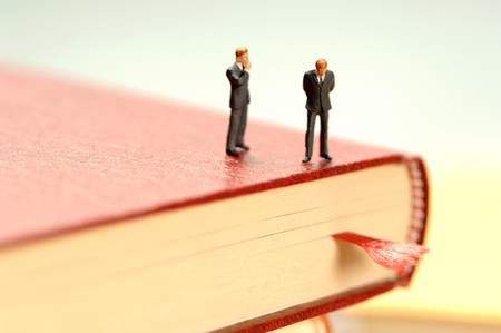 Two Men Standing On Book, Thinking, Figurines