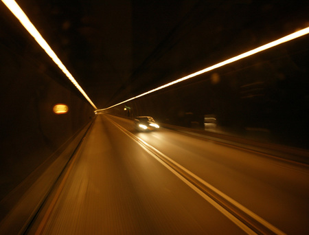 Car In Tunnel, (Blurred Motion)