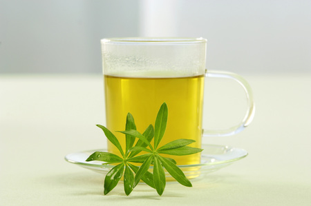 Glass Of Woodruff Tea With Leaves, Close-Up